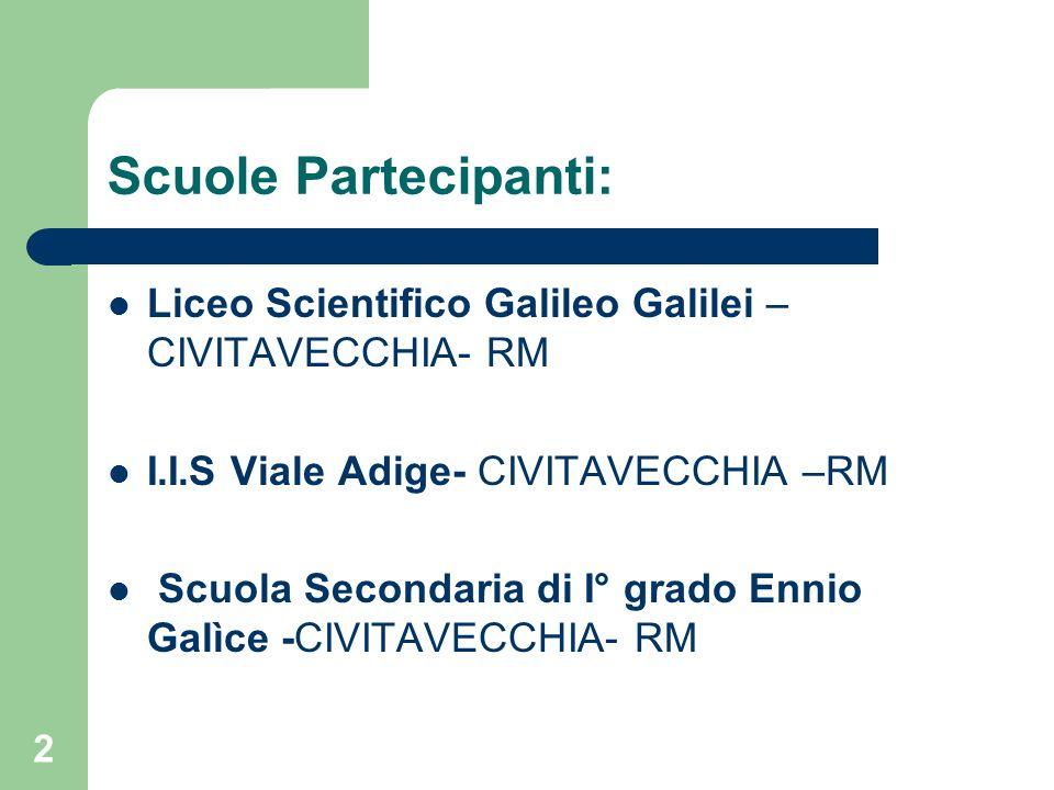Scuole Partecipanti: Liceo Scientifico Galileo Galilei – CIVITAVECCHIA- RM I.I.S Viale Adige- CIVITAVECCHIA –RM Scuola Secondaria di I° grado Ennio Ga
