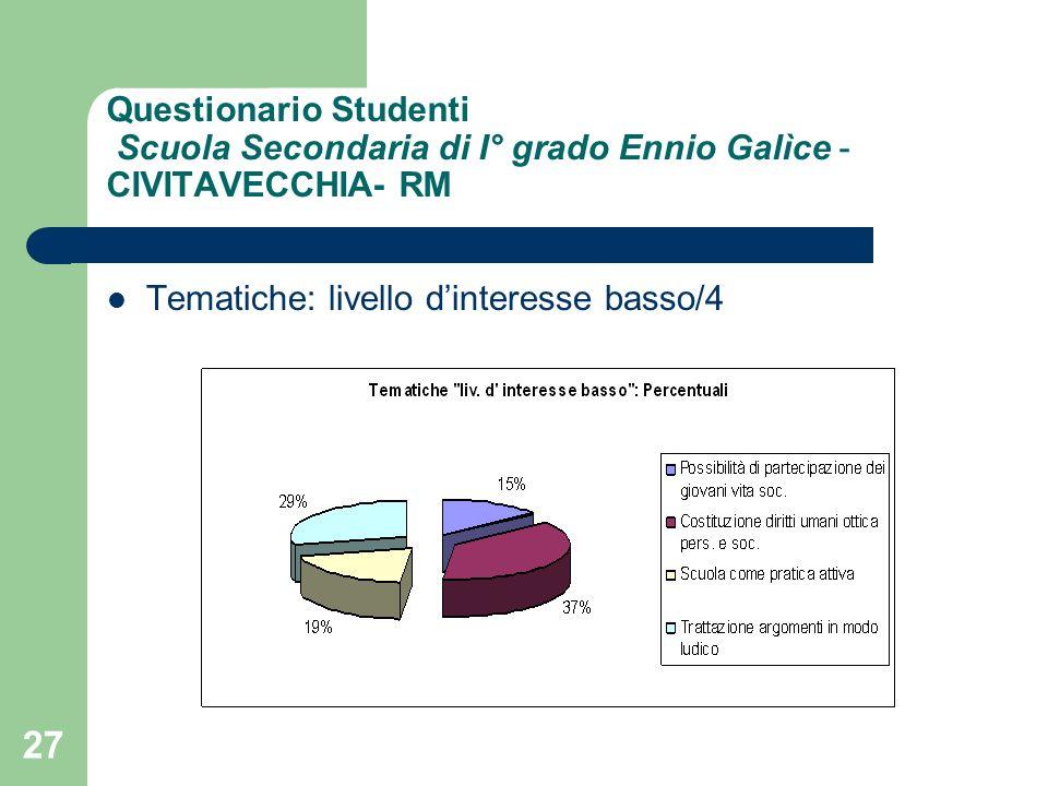 27 Questionario Studenti Scuola Secondaria di I° grado Ennio Galìce - CIVITAVECCHIA- RM Tematiche: livello dinteresse basso/4
