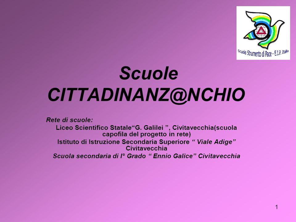 1 Scuole CITTADINANZ@NCHIO Rete di scuole: Liceo Scientifico StataleG. Galilei, Civitavecchia(scuola capofila del progetto in rete) Istituto di Istruz