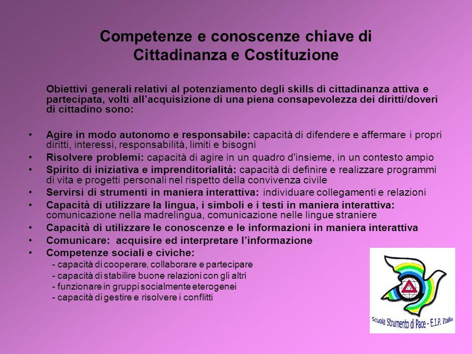 3 Competenze e conoscenze chiave di Cittadinanza e Costituzione Obiettivi generali relativi al potenziamento degli skills di cittadinanza attiva e par