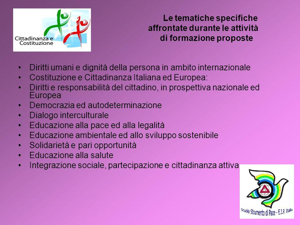 4 Le tematiche specifiche affrontate durante le attività di formazione proposte Diritti umani e dignità della persona in ambito internazionale Costitu