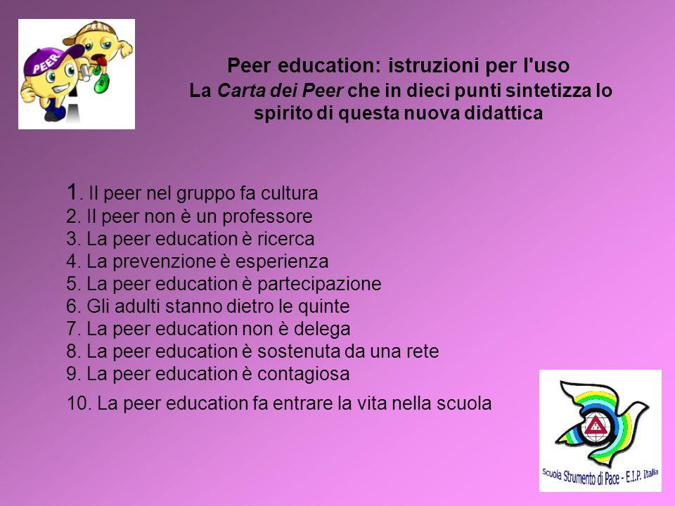 6 Peer education: istruzioni per l'uso La Carta dei Peer che in dieci punti sintetizza lo spirito di questa nuova didattica 1. Il peer nel gruppo fa c