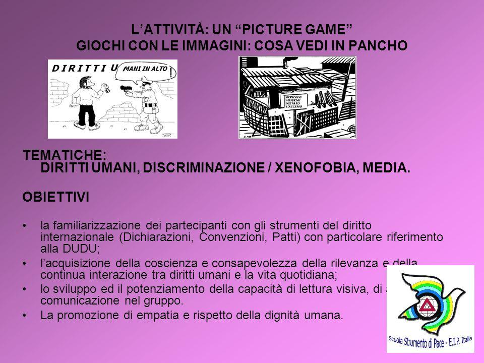 7 LATTIVITÀ: UN PICTURE GAME GIOCHI CON LE IMMAGINI: COSA VEDI IN PANCHO TEMATICHE: DIRITTI UMANI, DISCRIMINAZIONE / XENOFOBIA, MEDIA. OBIETTIVI la fa