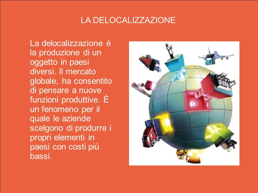 La delocalizzazione è la produzione di un oggetto in paesi diversi. Il mercato globale, ha consentito di pensare a nuove funzioni produttive. È un fen