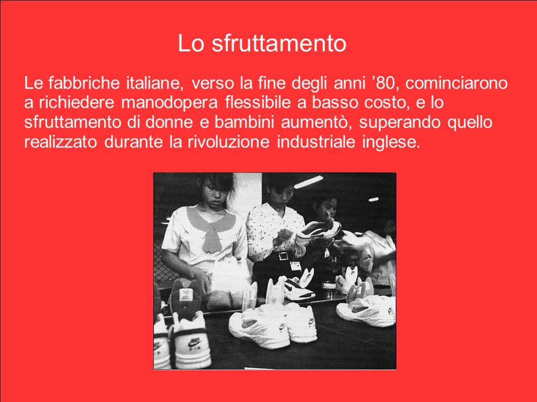 Lo sfruttamento Le fabbriche italiane, verso la fine degli anni 80, cominciarono a richiedere manodopera flessibile a basso costo, e lo sfruttamento d