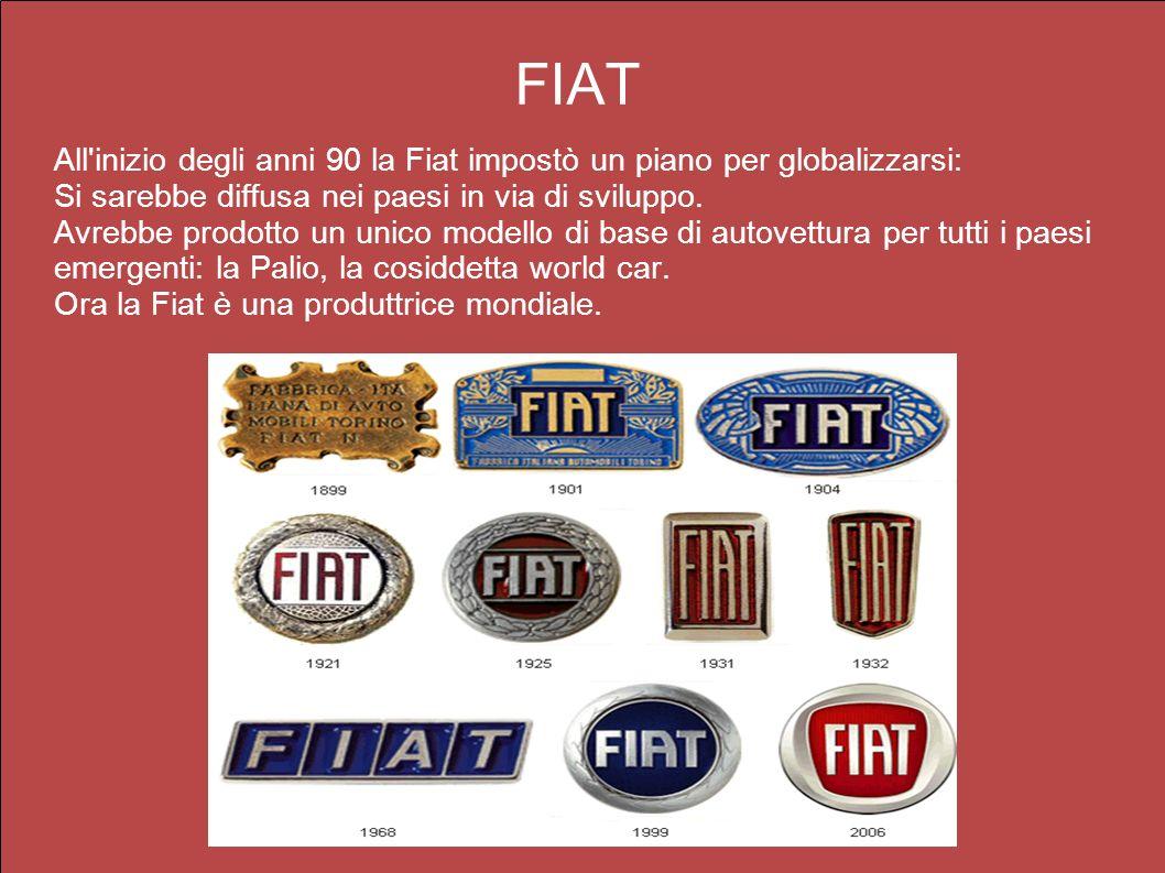 FIAT All'inizio degli anni 90 la Fiat impostò un piano per globalizzarsi: Si sarebbe diffusa nei paesi in via di sviluppo. Avrebbe prodotto un unico m