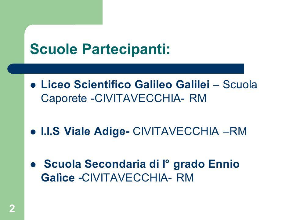 Scuole Partecipanti: Liceo Scientifico Galileo Galilei – Scuola Caporete -CIVITAVECCHIA- RM I.I.S Viale Adige- CIVITAVECCHIA –RM Scuola Secondaria di I° grado Ennio Galìce -CIVITAVECCHIA- RM 2