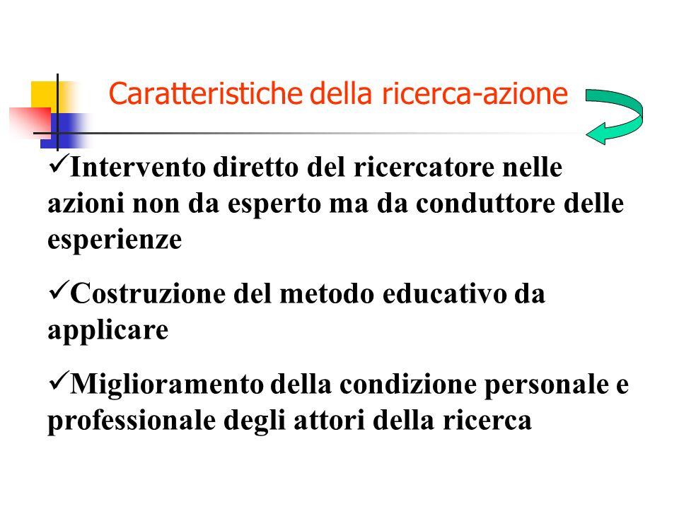 Caratteristiche della ricerca-azione Attenzione alla intera situazione di intervento Condivisione dellambito della ricerca tra i protagonisti Negoziaz