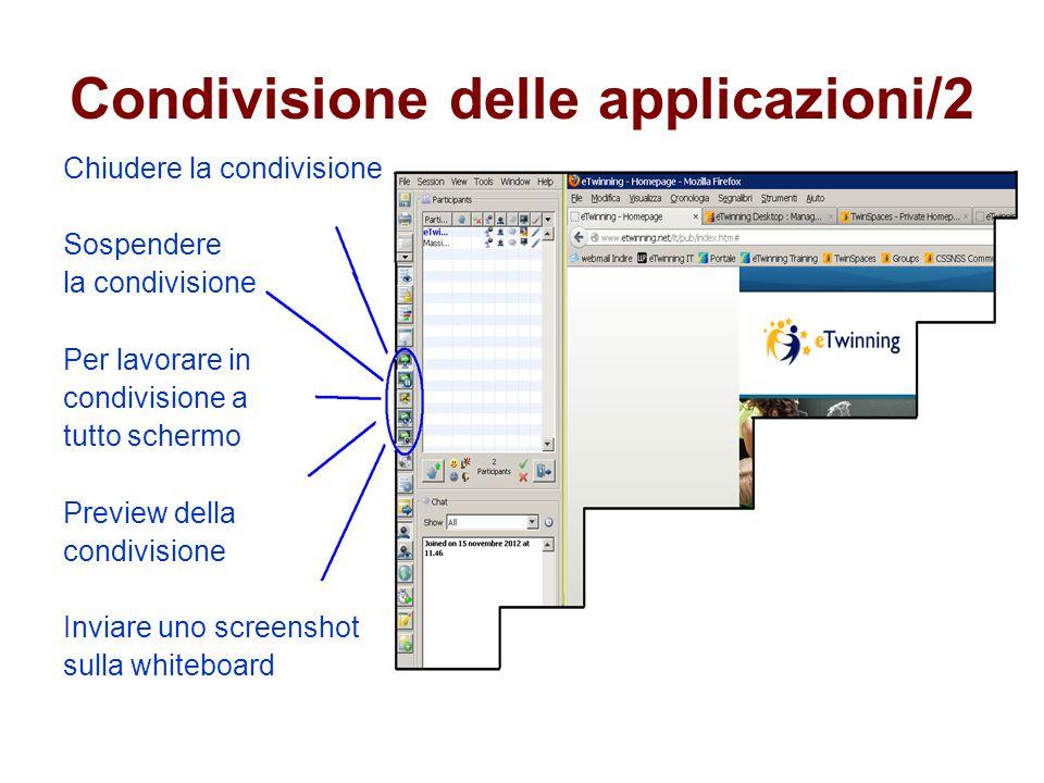 Condivisione delle applicazioni/2 Chiudere la condivisione Sospendere la condivisione Per lavorare in condivisione a tutto schermo Preview della condivisione Inviare uno screenshot sulla whiteboard