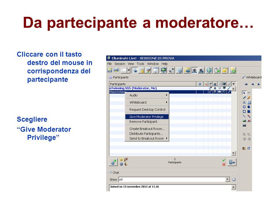 Da partecipante a moderatore… Cliccare con il tasto destro del mouse in corrispondenza del partecipante Scegliere Give Moderator Privilege