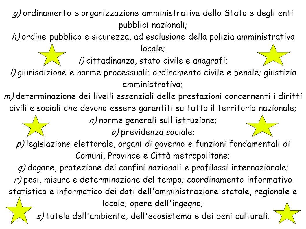 g) ordinamento e organizzazione amministrativa dello Stato e degli enti pubblici nazionali; h) ordine pubblico e sicurezza, ad esclusione della polizi