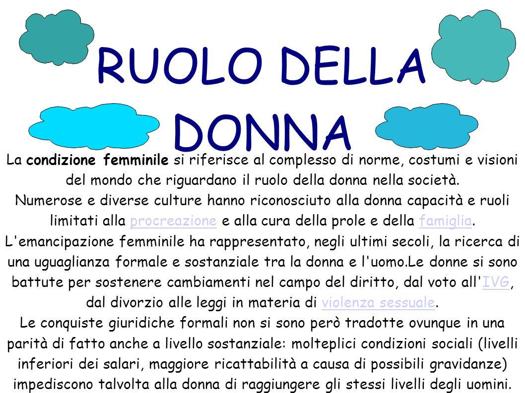 RUOLO DELLA DONNA La condizione femminile si riferisce al complesso di norme, costumi e visioni del mondo che riguardano il ruolo della donna nella società.