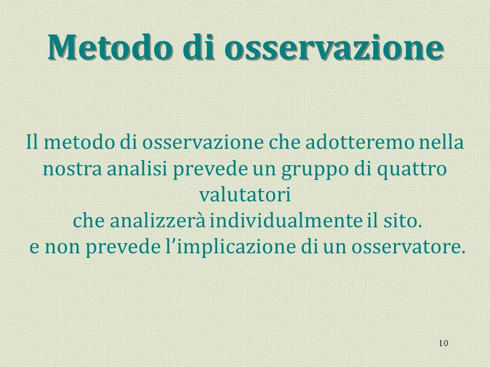 10 Metodo di osservazione Il metodo di osservazione che adotteremo nella nostra analisi prevede un gruppo di quattro valutatori che analizzerà individ