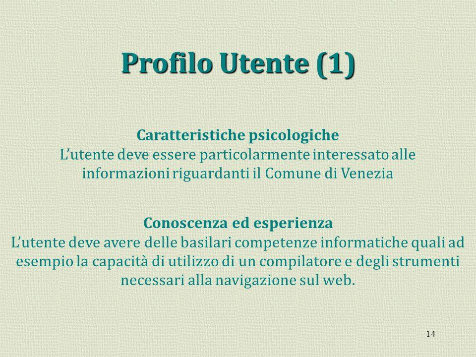 14 Profilo Utente (1) Caratteristiche psicologiche Lutente deve essere particolarmente interessato alle informazioni riguardanti il Comune di Venezia