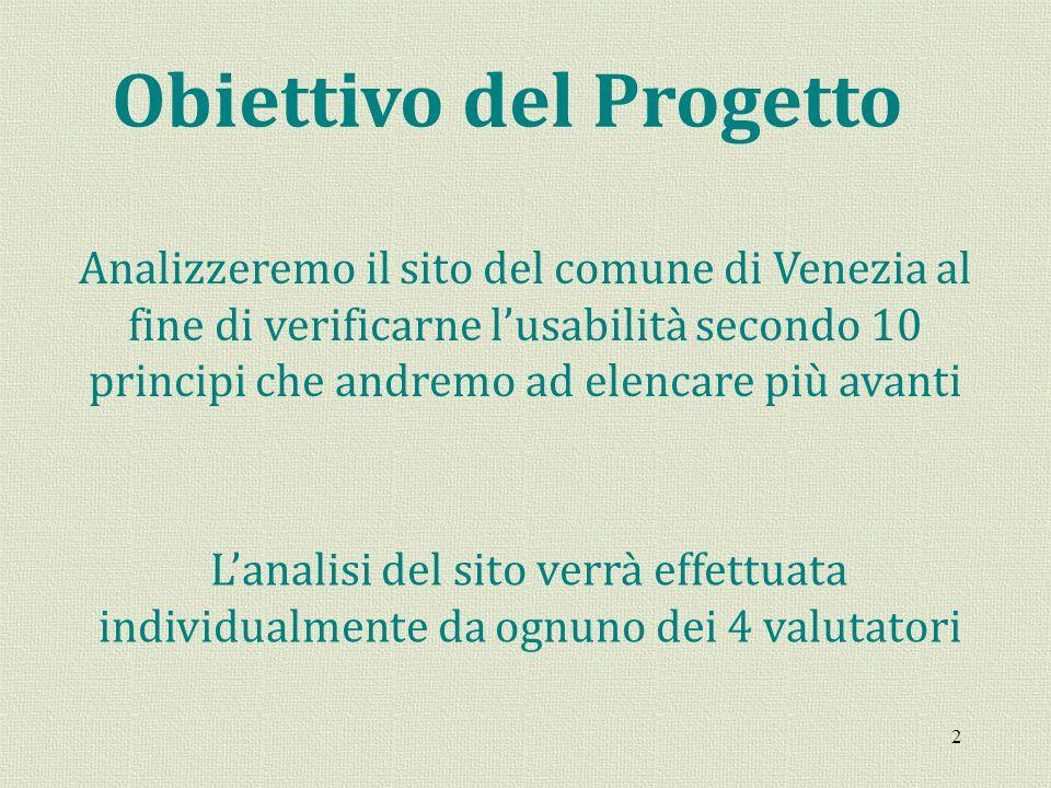 2 Obiettivo del Progetto Analizzeremo il sito del comune di Venezia al fine di verificarne lusabilità secondo 10 principi che andremo ad elencare più