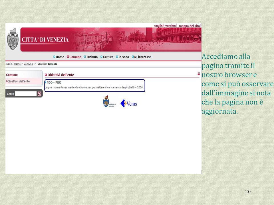 20 Accediamo alla pagina tramite il nostro browser e come si può osservare dallimmagine si nota che la pagina non è aggiornata.