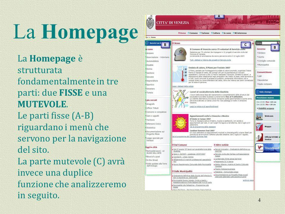 4 La Homepage La Homepage è strutturata fondamentalmente in tre parti: due FISSE e una MUTEVOLE. Le parti fisse (A-B) riguardano i menù che servono pe