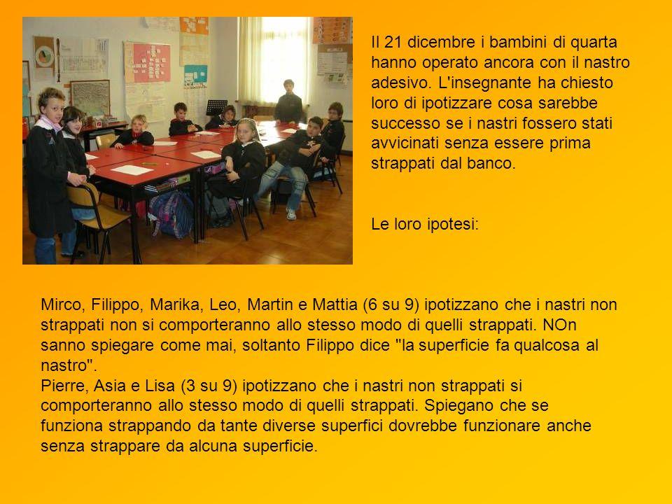 Mirco, Filippo, Marika, Leo, Martin e Mattia (6 su 9) ipotizzano che i nastri non strappati non si comporteranno allo stesso modo di quelli strappati.
