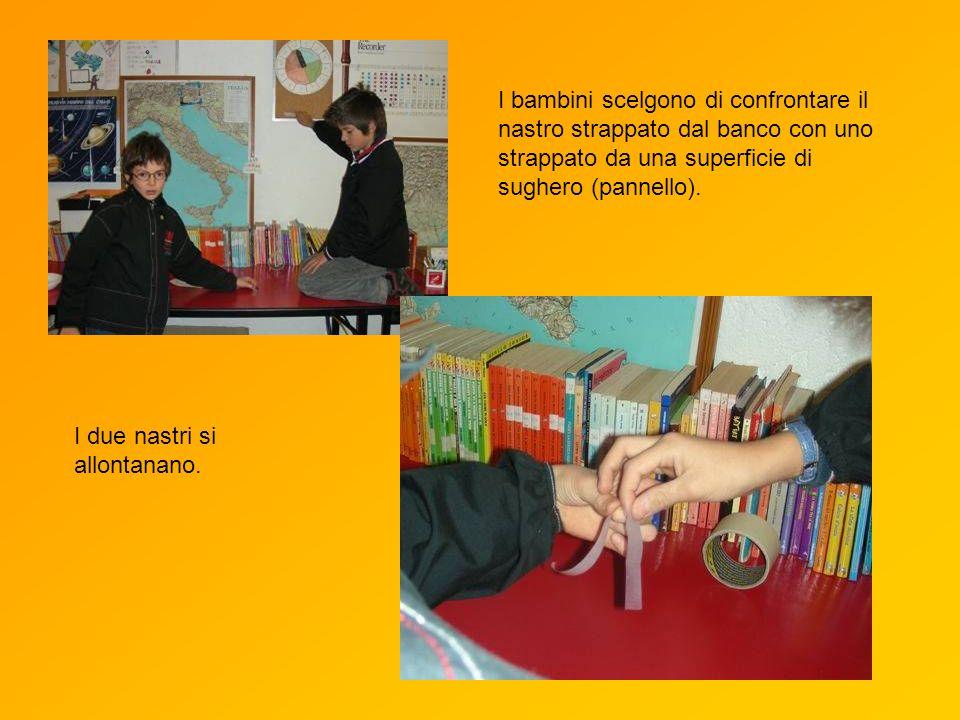 I bambini scelgono di confrontare il nastro strappato dal banco con uno strappato da una superficie di sughero (pannello).