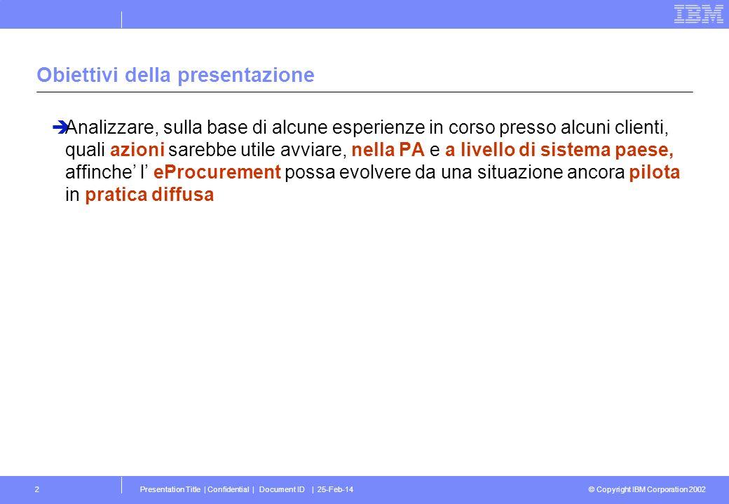 © Copyright IBM Corporation 2002 Presentation Title | Confidential | Document ID | 25-Feb-142 Obiettivi della presentazione Analizzare, sulla base di