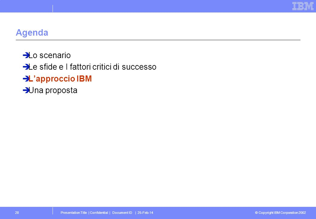 © Copyright IBM Corporation 2002 Presentation Title | Confidential | Document ID | 25-Feb-1428 Agenda Lo scenario Le sfide e I fattori critici di successo Lapproccio IBM Una proposta