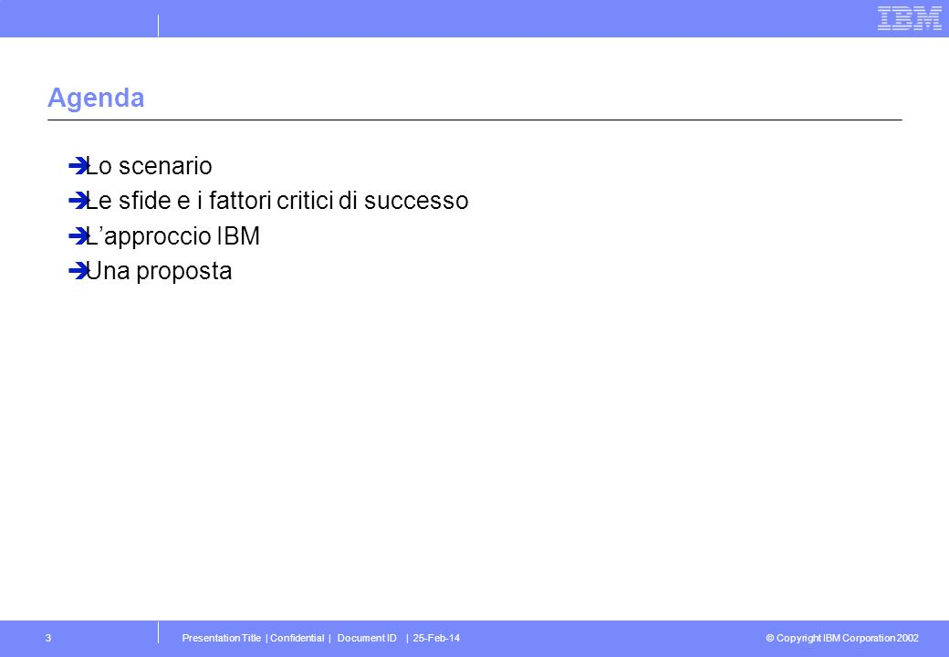 © Copyright IBM Corporation 2002 Presentation Title | Confidential | Document ID | 25-Feb-143 Agenda Lo scenario Le sfide e i fattori critici di successo Lapproccio IBM Una proposta