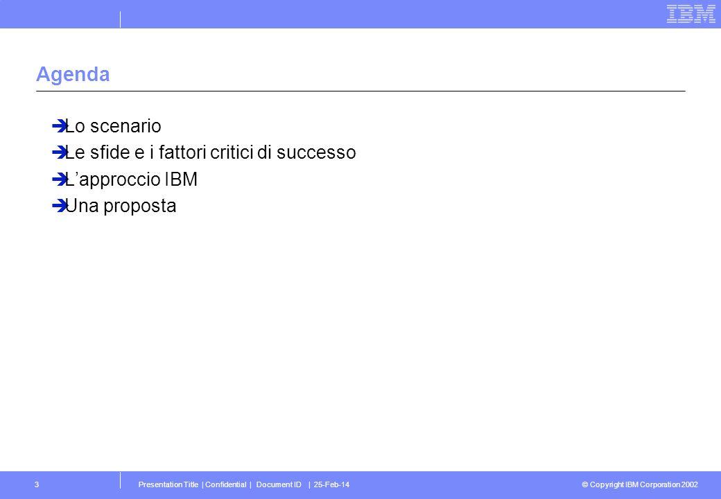 © Copyright IBM Corporation 2002 Presentation Title   Confidential   Document ID   25-Feb-1434 La proposta Partendo dalle attivita relative alla realizzazione del mercato elettronico della PA di tipo federato (tavolo di interoperabilita, cabina di regia, etc.), avviare un tavolo di confronto con i diversi settori di industria per arrivare a definire regole e processi comuni a supporto della crescita del b2b in Italia Partendo dalle attivita relative alla realizzazione del mercato elettronico della PA di tipo federato (tavolo di interoperabilita, cabina di regia, etc.), avviare un tavolo di confronto con i diversi settori di industria per arrivare a definire regole e processi comuni a supporto della crescita del b2b in Italia