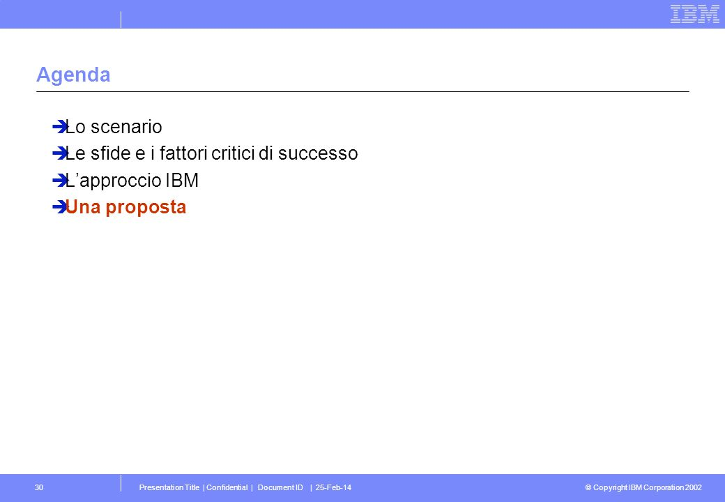 © Copyright IBM Corporation 2002 Presentation Title | Confidential | Document ID | 25-Feb-1430 Agenda Lo scenario Le sfide e i fattori critici di successo Lapproccio IBM Una proposta