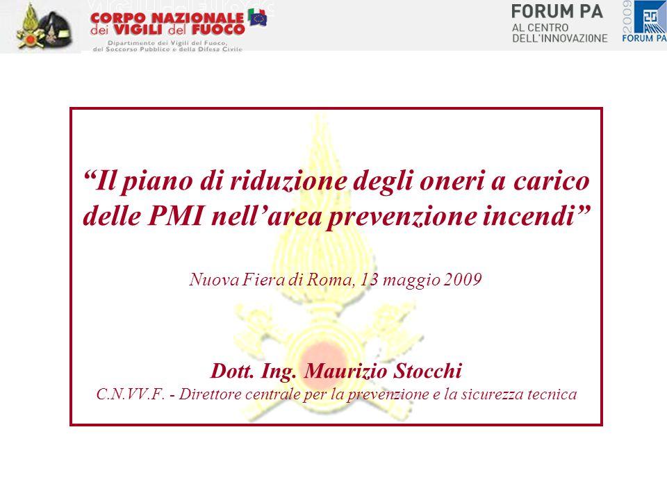 Il piano di riduzione degli oneri a carico delle PMI nellarea prevenzione incendi Nuova Fiera di Roma, 13 maggio 2009 Dott. Ing. Maurizio Stocchi C.N.