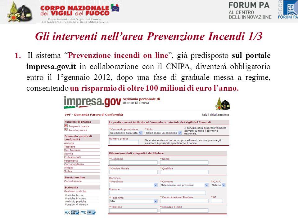 1. Il sistema Prevenzione incendi on line, già predisposto sul portale impresa.gov.it in collaborazione con il CNIPA, diventerà obbligatorio entro il