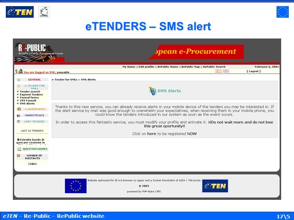 17\5 eTENDERS – SMS alert eTEN – Re-Public – RePublic website