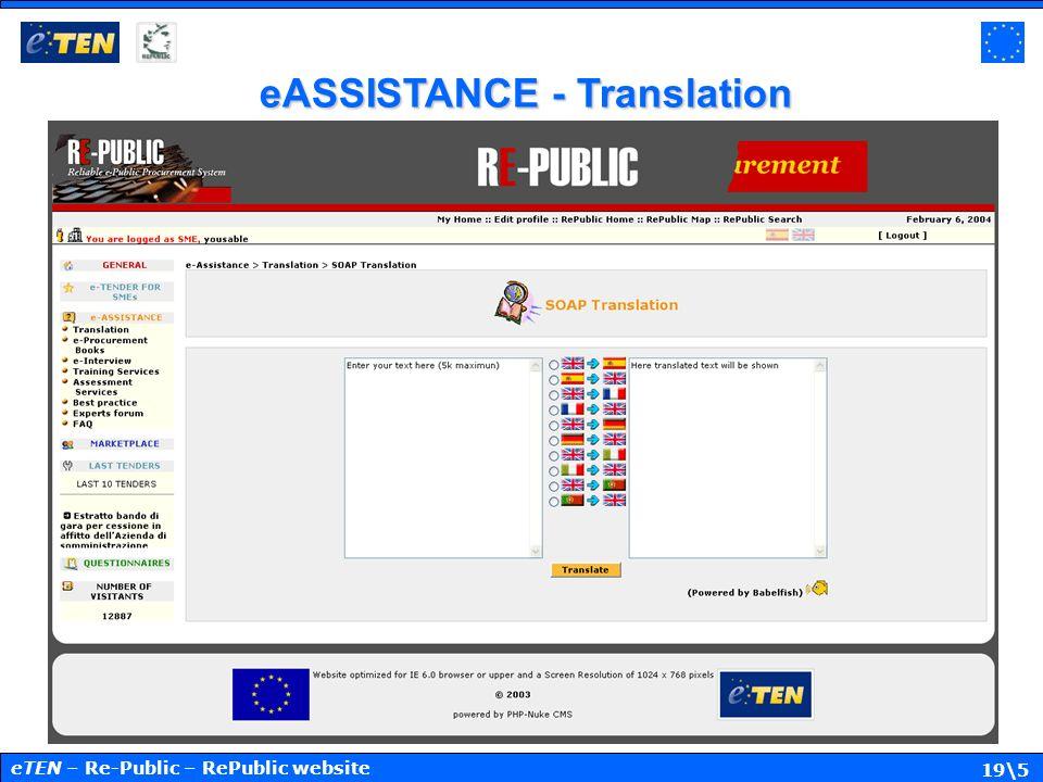 19\5 eASSISTANCE - Translation eTEN – Re-Public – RePublic website