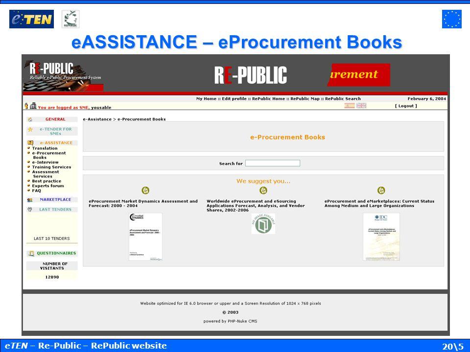 20\5 eASSISTANCE – eProcurement Books eTEN – Re-Public – RePublic website