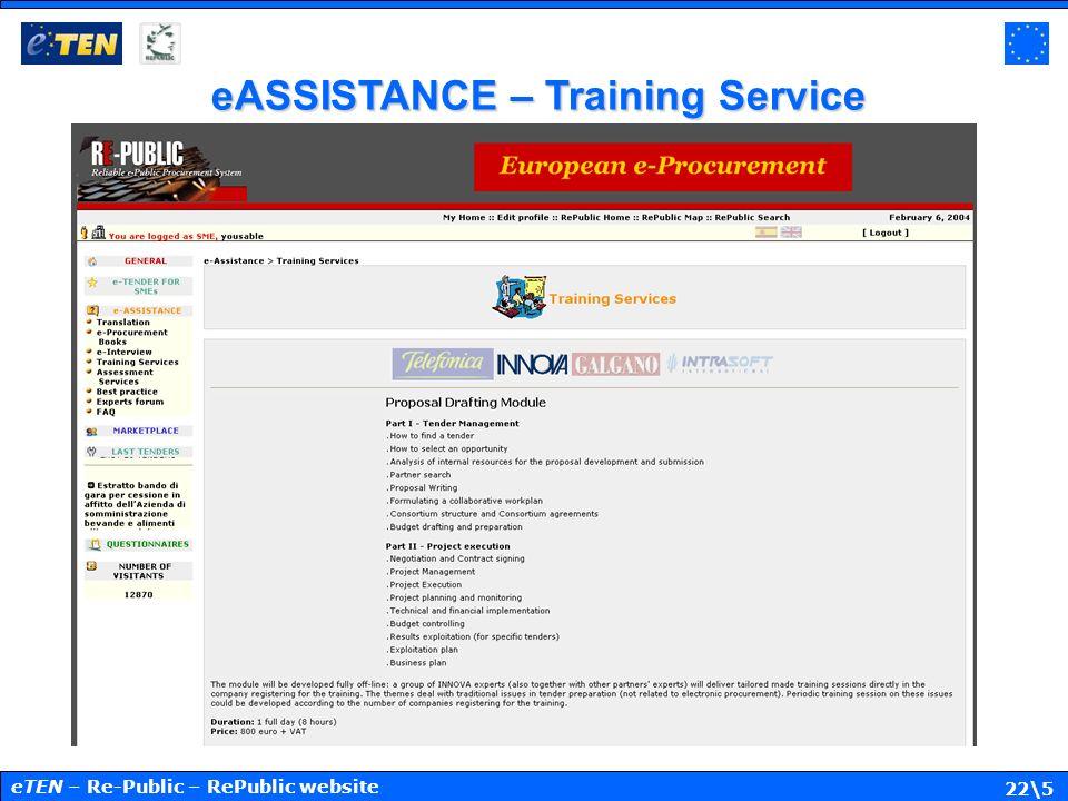 22\5 eASSISTANCE – Training Service eTEN – Re-Public – RePublic website