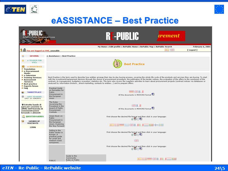 24\5 eASSISTANCE – Best Practice eTEN – Re-Public – RePublic website