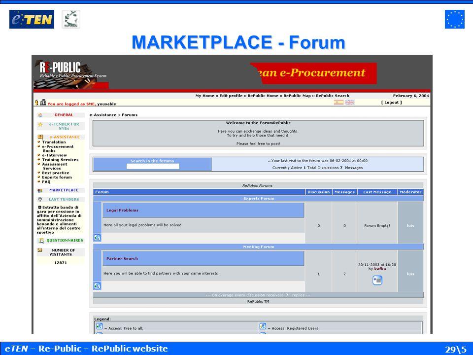 29\5 MARKETPLACE - Forum eTEN – Re-Public – RePublic website