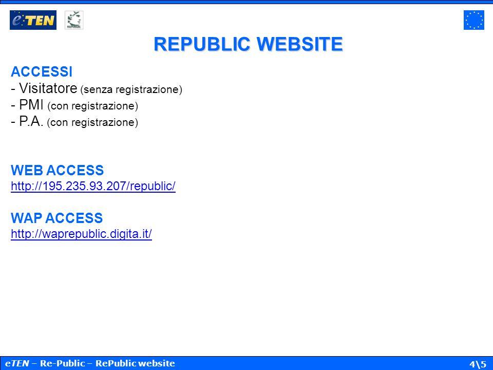4\5 REPUBLIC WEBSITE ACCESSI - Visitatore (senza registrazione) - PMI (con registrazione) - P.A. (con registrazione) WEB ACCESS http://195.235.93.207/