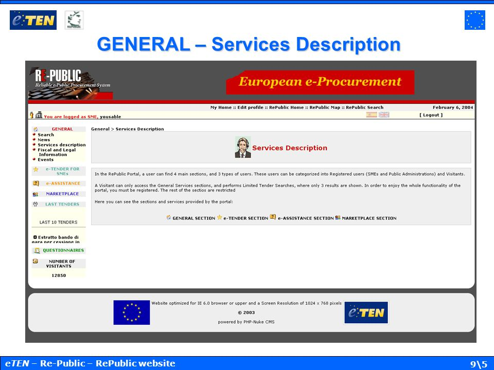 10\5 GENERAL – Fiscal and Legal Informations eTEN – Re-Public – RePublic website