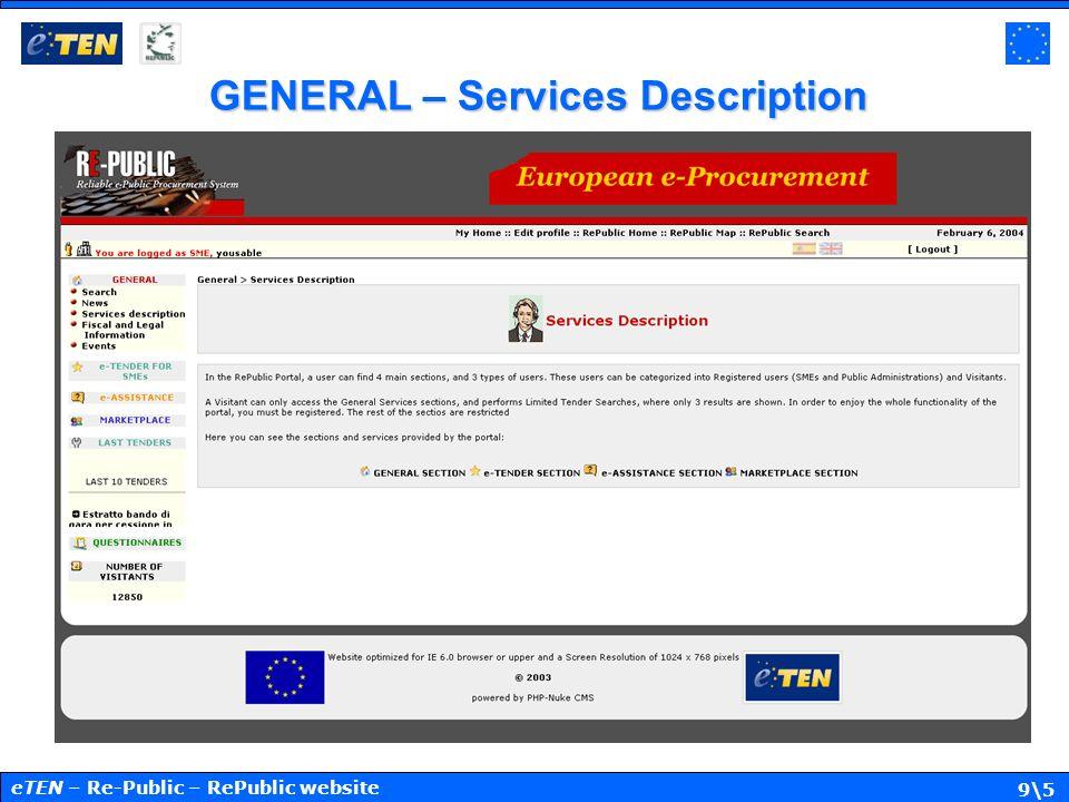 9\5 GENERAL – Services Description eTEN – Re-Public – RePublic website