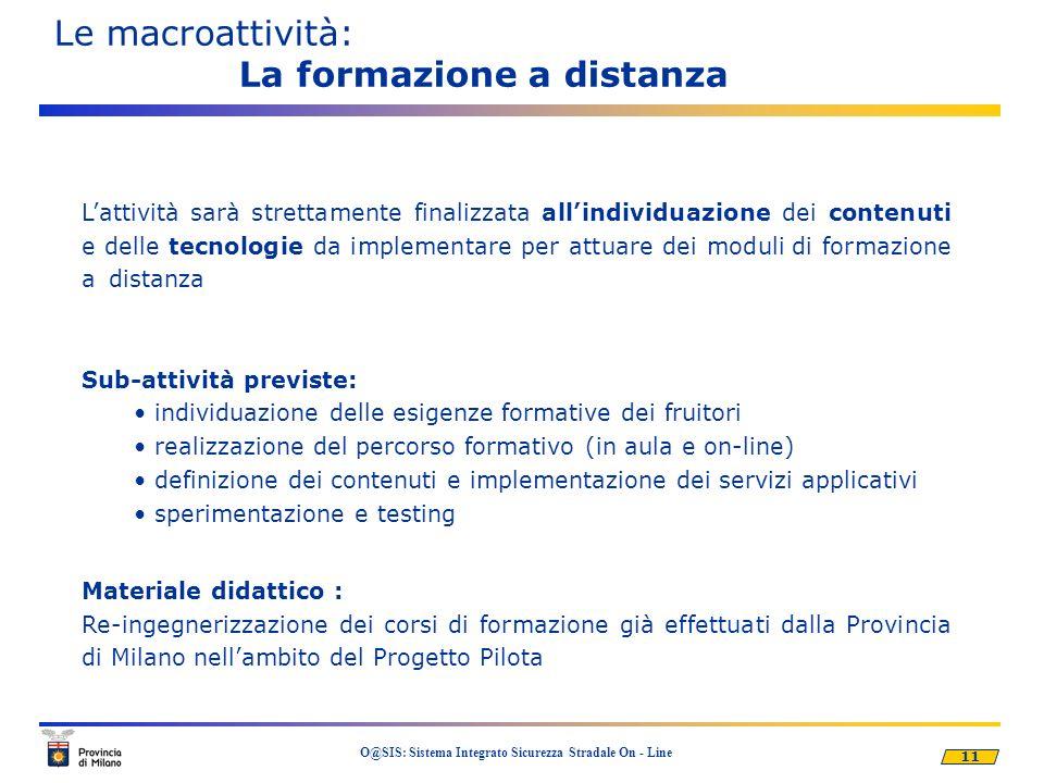 11 O@SIS: Sistema Integrato Sicurezza Stradale On - Line Le macroattività: La formazione a distanza Lattività sarà strettamente finalizzata allindivid
