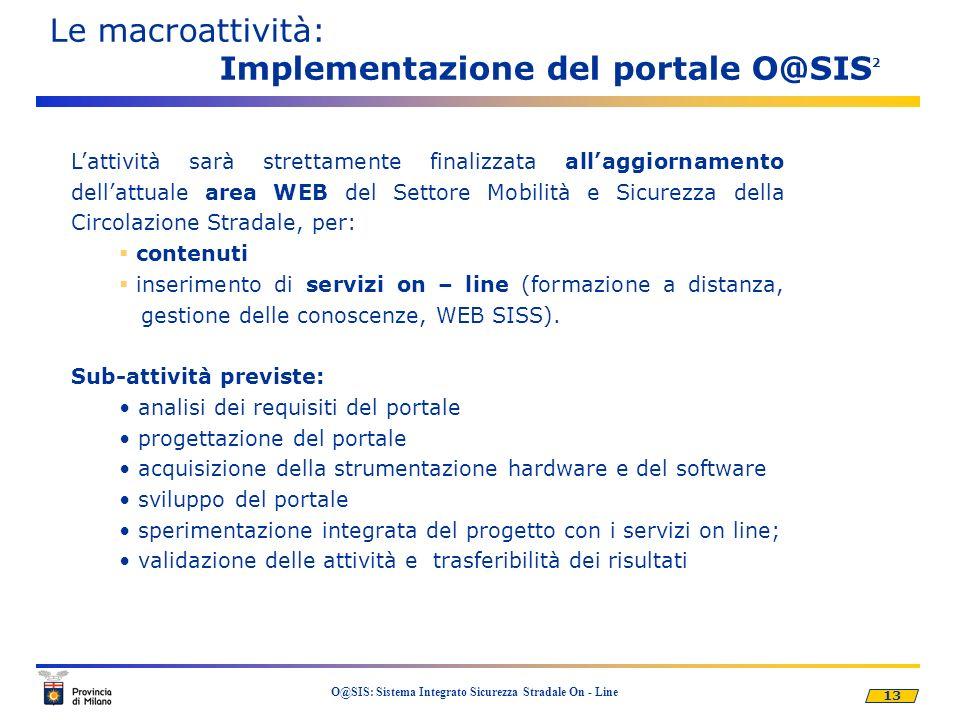 13 O@SIS: Sistema Integrato Sicurezza Stradale On - Line Le macroattività: Implementazione del portale O@SIS 2 Lattività sarà strettamente finalizzata