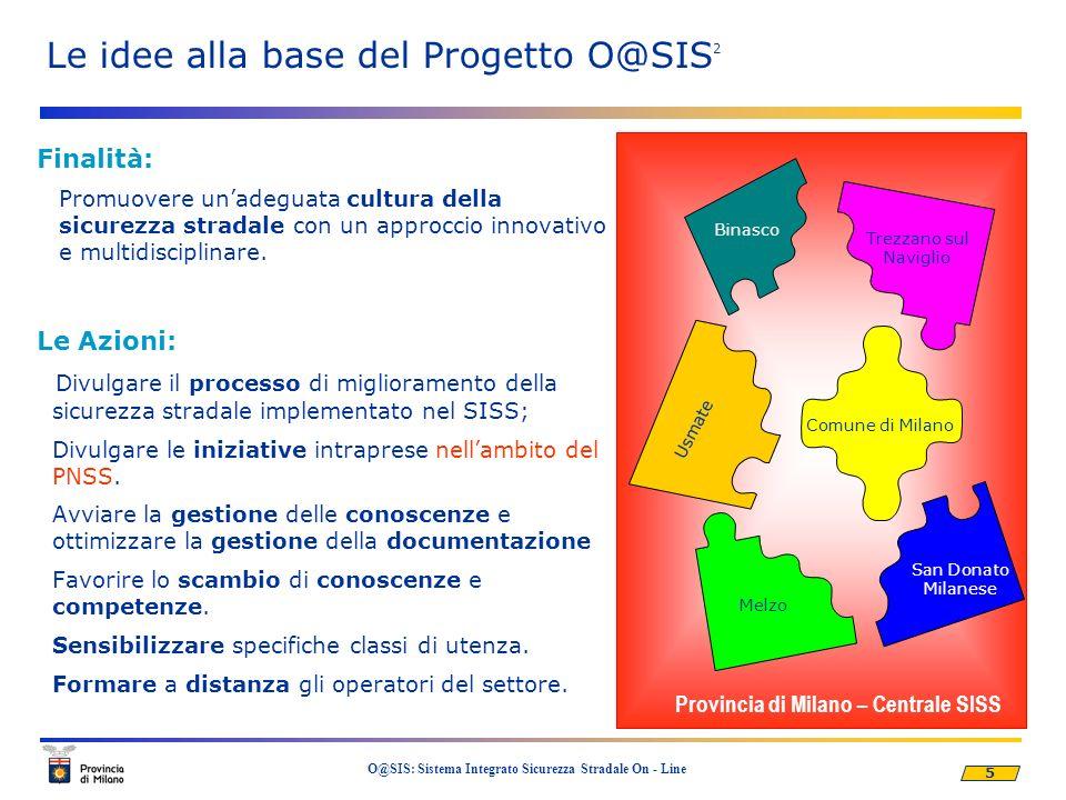 5 O@SIS: Sistema Integrato Sicurezza Stradale On - Line Finalità: Promuovere unadeguata cultura della sicurezza stradale con un approccio innovativo e