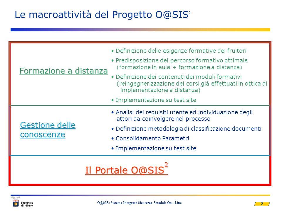 7 O@SIS: Sistema Integrato Sicurezza Stradale On - Line Le macroattività del Progetto O@SIS 2 Il Portale O@SIS 2 Gestione delle conoscenze Analisi dei