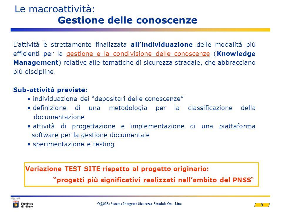 9 O@SIS: Sistema Integrato Sicurezza Stradale On - Line Le macroattività: Gestione delle conoscenze Lattività è strettamente finalizzata allindividuaz