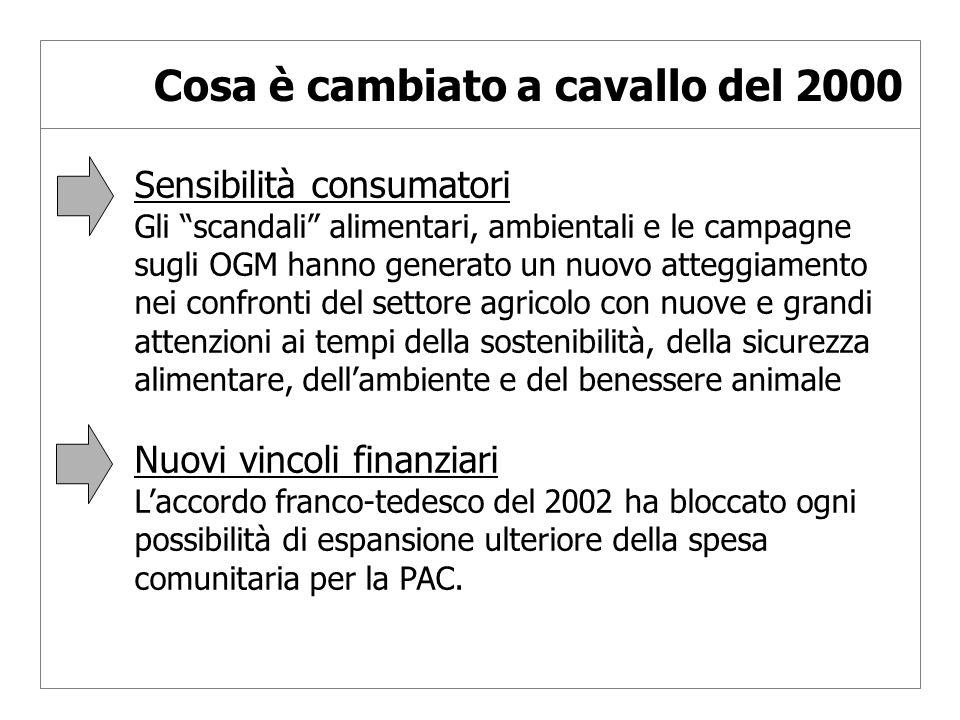I passi recenti Nuove prospettive finanziarie UE 2007-2013 Riforma Agenda 2000 e i nuovi orientamenti di politica per lo sviluppo rurale Allargamento UE
