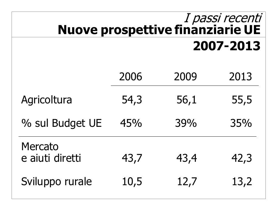 I passi recenti Nuove prospettive finanziarie UE 2007-2013 200620092013 Agricoltura54,356,155,5 % sul Budget UE45%39%35% Mercato e aiuti diretti43,743,442,3 Sviluppo rurale10,512,713,2