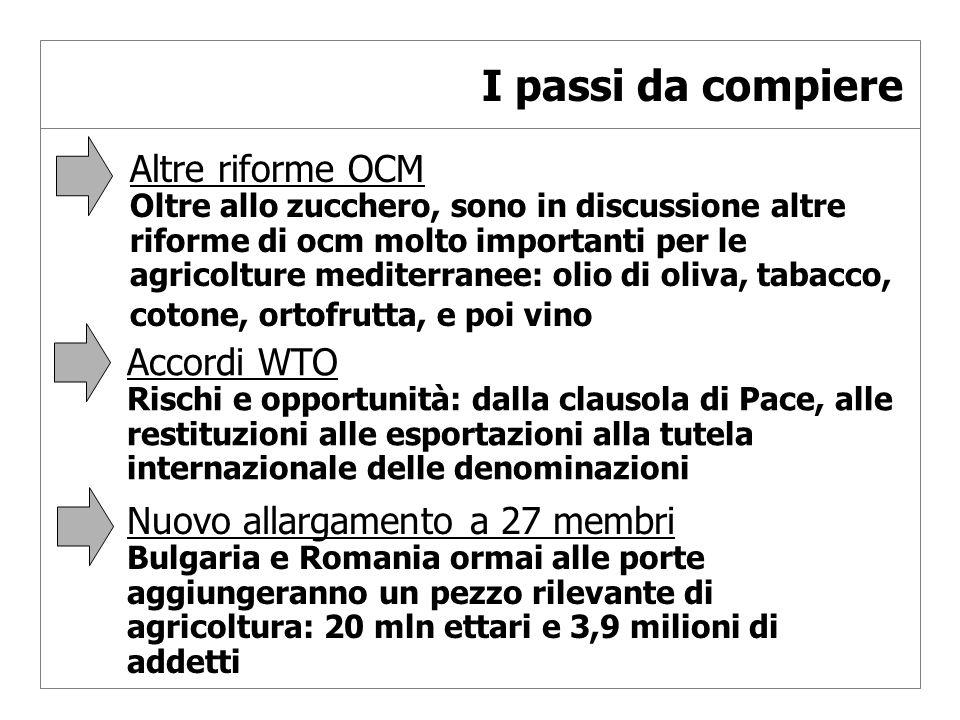 I passi da compiere Altre riforme OCM Oltre allo zucchero, sono in discussione altre riforme di ocm molto importanti per le agricolture mediterranee: olio di oliva, tabacco, cotone, ortofrutta, e poi vino Accordi WTO Rischi e opportunità: dalla clausola di Pace, alle restituzioni alle esportazioni alla tutela internazionale delle denominazioni Nuovo allargamento a 27 membri Bulgaria e Romania ormai alle porte aggiungeranno un pezzo rilevante di agricoltura: 20 mln ettari e 3,9 milioni di addetti