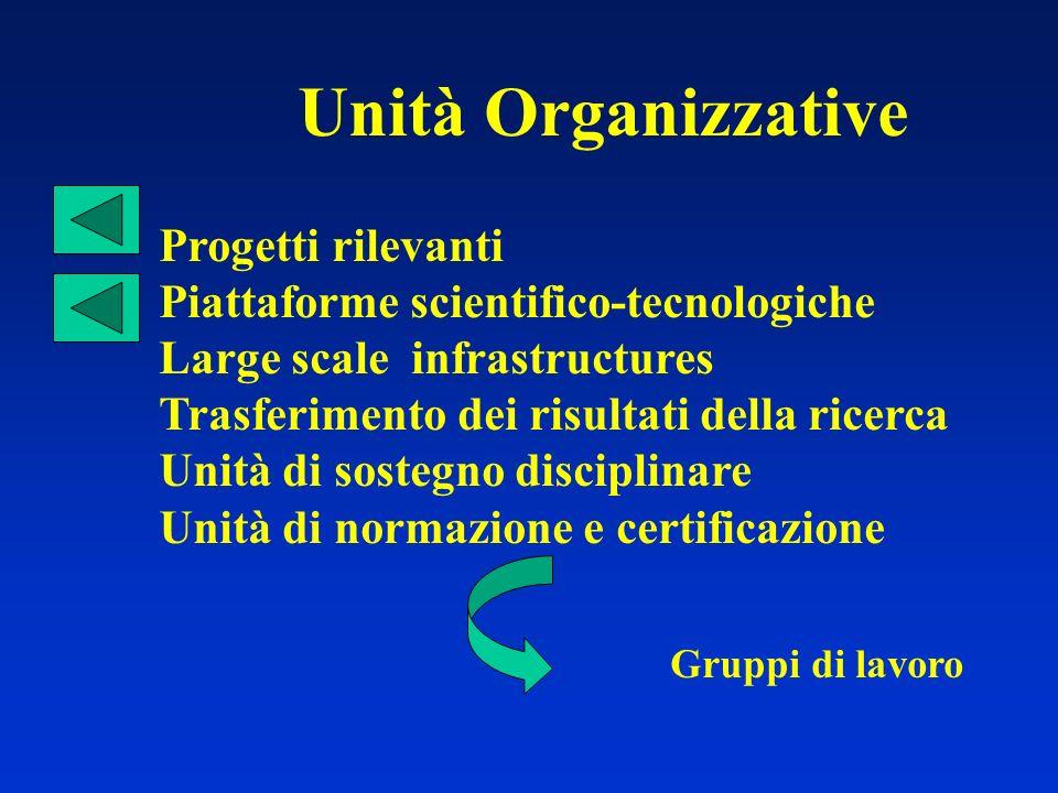 Unità Organizzative Progetti rilevanti Piattaforme scientifico-tecnologiche Large scale infrastructures Trasferimento dei risultati della ricerca Unit