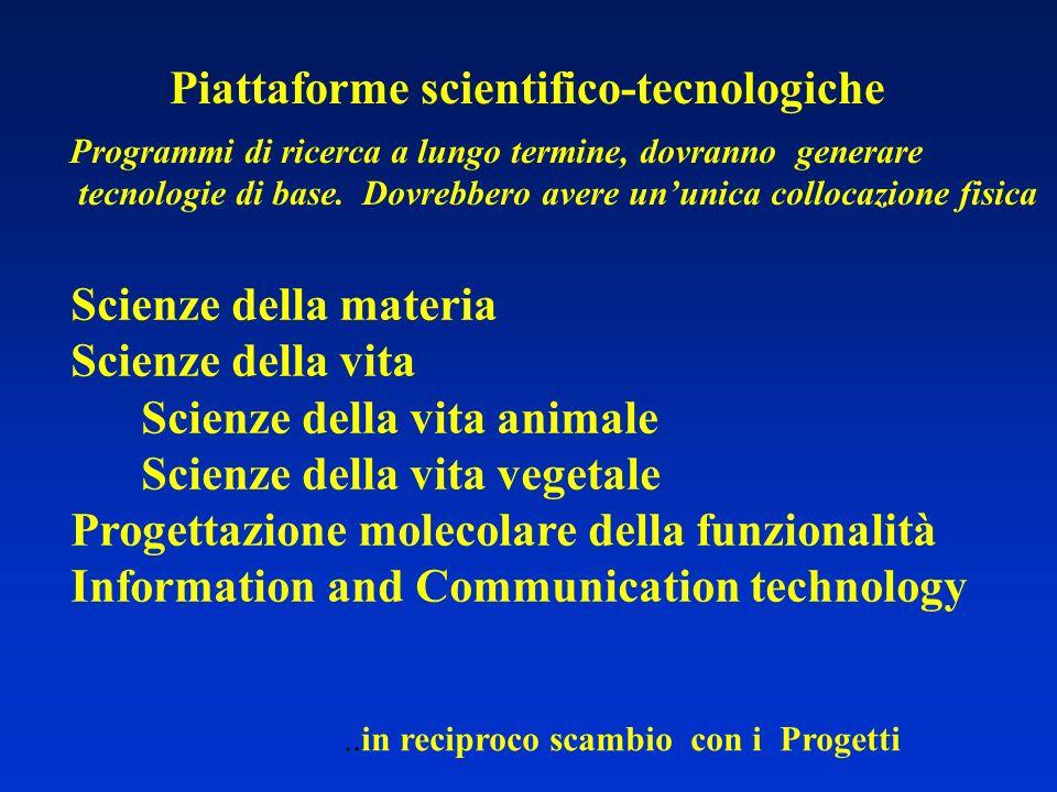 Piattaforme scientifico-tecnologiche Programmi di ricerca a lungo termine, dovranno generare tecnologie di base. Dovrebbero avere ununica collocazione