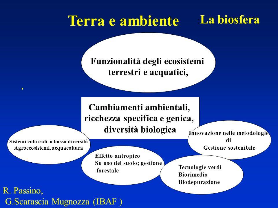 Terra e ambiente R. Passino, G.Scarascia Mugnozza (IBAF ) : La biosfera, Cambiamenti ambientali, ricchezza specifica e genica, diversità biologica Fun